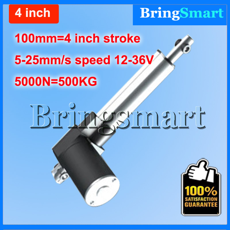 Wholesale 12-36V 100mm 4 inch linear actuator 12V 5000N 500KG Load 5-30mm/s Customized Speed mini electric 24v Tubular Motor