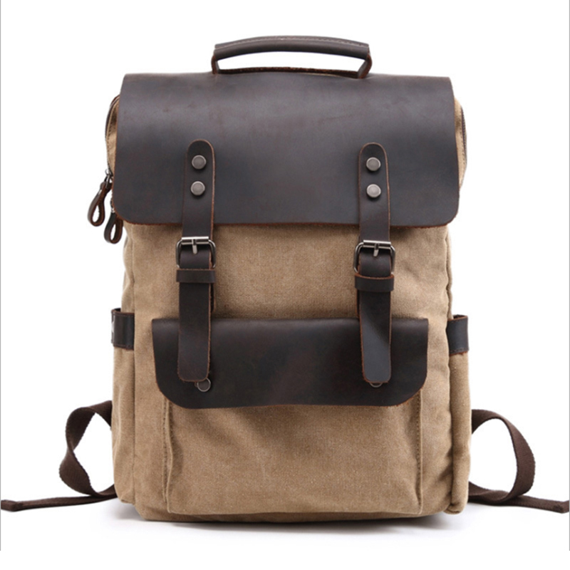 Canvas Backpack Vintage Canvas Leather Satchel Waterproof Laptop Backpacks Anti-theft Unisex Casual Rucksack Travel Bag vintage canvas backpack fashion canvas rucksack daypack leisure college bag travel school bags unisex computer bag backpacks