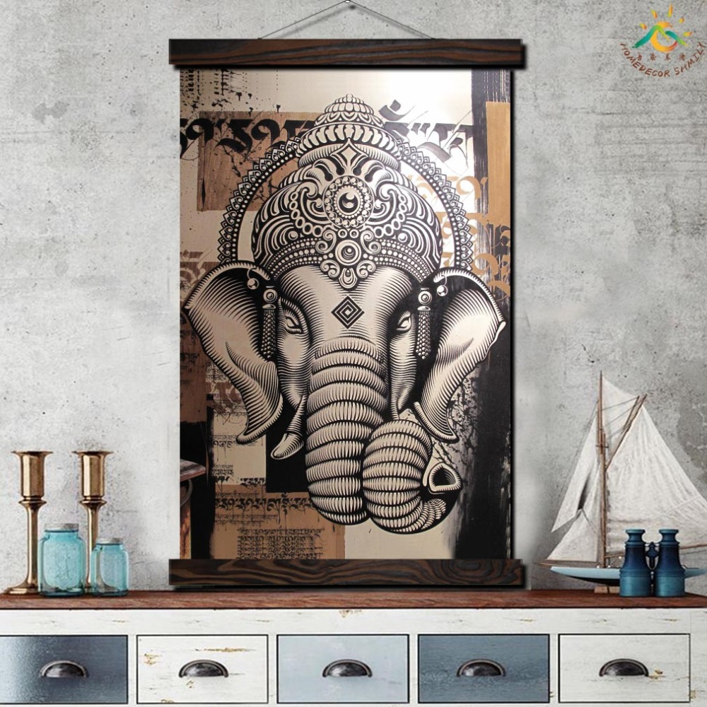 Black and White Elephant Single Modern Wall Art Print Pop Art Picture And Poster Frame Hanging Scroll Canvas Painting Home Decor in Painting Calligraphy from Home Garden