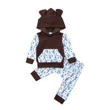 8c8179d991633 2PCS Pudcoco Boutique Newborn Baby Boy Deer printed Hooded Tops Pants  Outfit Clothes 0-24M