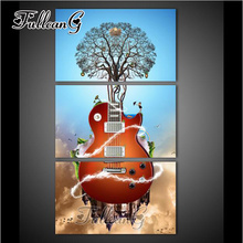 FULLCANG triptych mosaic embroidery guitar tree 3pcs diy diamond painting 5d cross stitch kits full drill decor gift G1231