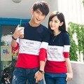 2015 de Corea Del Regalo del Día de San Valentín Pareja Camiseta Amantes de la Ropa de Las Mujeres de Los Hombres de Manga Larga Camisetas Tops
