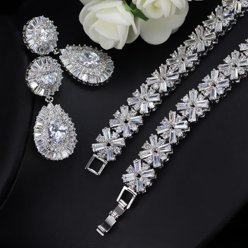 CWWZircons Collar de oro blanco nupcial de lujo CZ Crystal y conjunto - Bisutería - foto 5