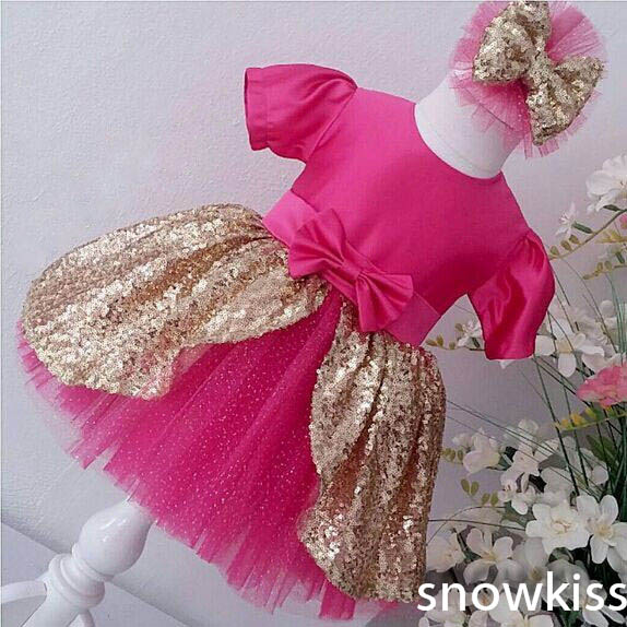 Bling golden Sequin flower girl dresses with Bow Short Sleeves Baby Birthday Party Dress wedding occasion ball gowns fever short gloves with bow красные короткие перчатки