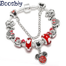 Boosbiy New Design European Charm Bracelet With Cute Crystal Mickey Minnie Beads Brand For Women Kids Pulseras Mujer