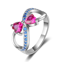 New 100% Authentic 925 Sterling Silver Delicate Bow Rings With pink&blue CZ Original fashion Jewelry for women free shipping цена