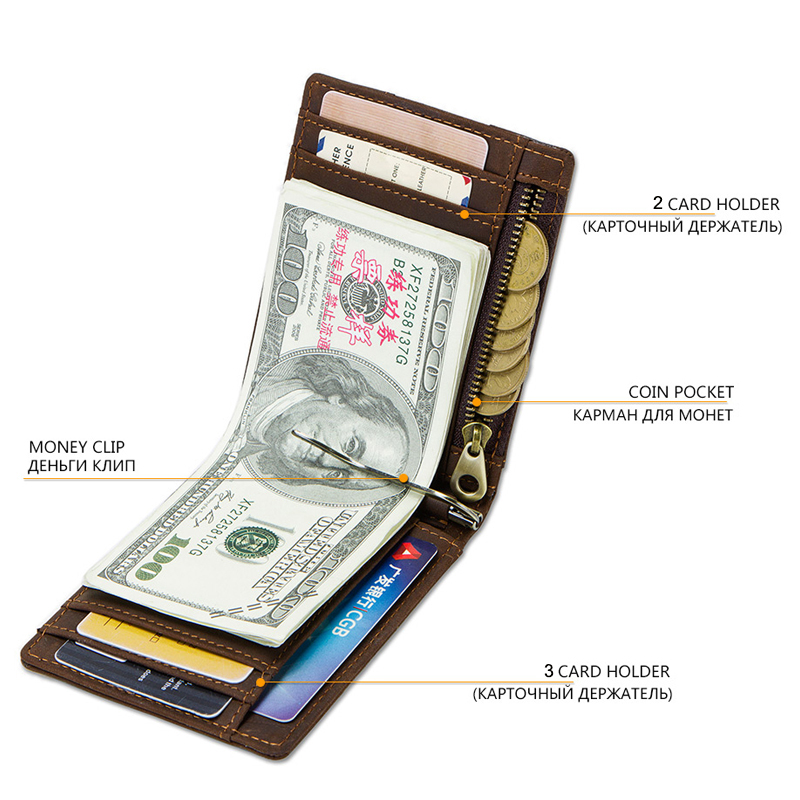 CONTACT'S Crazy Horse men RFID Genuine Leather Money Clip Card Wallet Thin Bifold cash clamp casual cash holder man coin purse 3