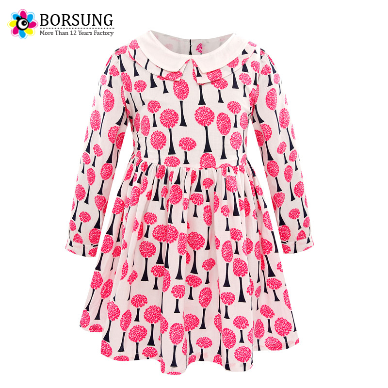 BORSUNG 2-6Years Girls Dress 2017 Autumn Casual Style Baby Girl Clothes Long Sleeve Cotton Flower Print Dresses For Kids Clothes keelorn girls dress 2017 autumn casual style baby girl clothes long sleeve cartoon bunny print plaid dress for kids clothes