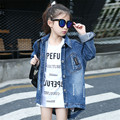Girls Coat Jacket Fashion Trend Casual Sequined Letters Teen Cowboy Clothes Long Girls Denim Jacket Kids Coat Girl