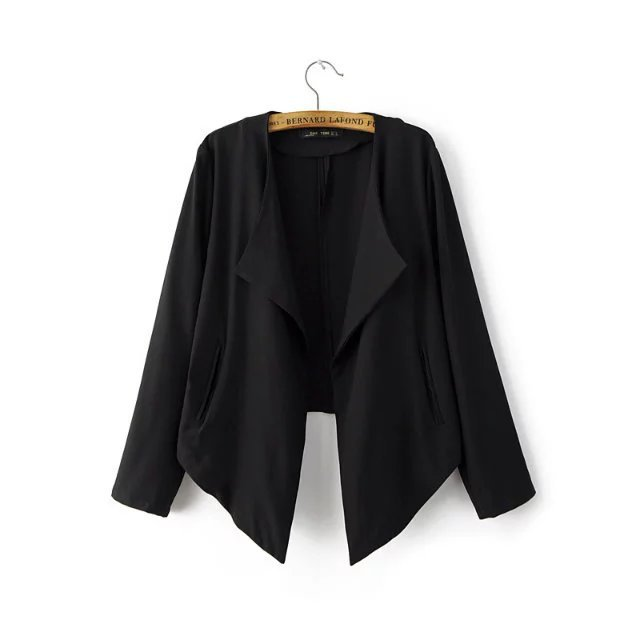 European Casual Women Blazer Jacket coat 2017 Autumn Winter Open stitch Solid short blazers ...