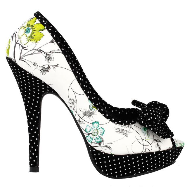 LF30476 Sexy Bow Multicoloured Floral Polka Dot Platform Party Pumps Size 4/5/6/7/8/9/10