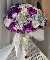 חתונה בעבודת יד חרוזים בד פרח כלה מחזיק פרחים זר סגול