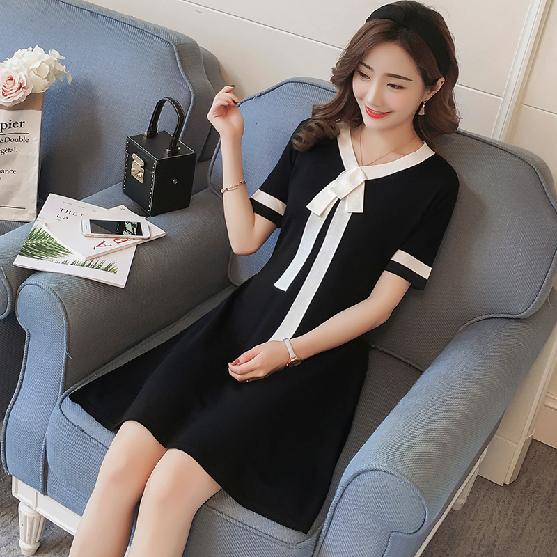 2018 New Korean Maternity Dresses Summer Knit Maternity Dress Korean stitching Bow pregnant women dress pregnancy clothes