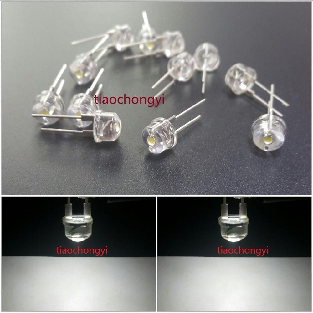 100PCS DIP LED 8mm White 6000k 0.5 Watt Wide Angle Bright High Power LEDs 0.5w 100pcs lf398n lf398 dip 8 new origina