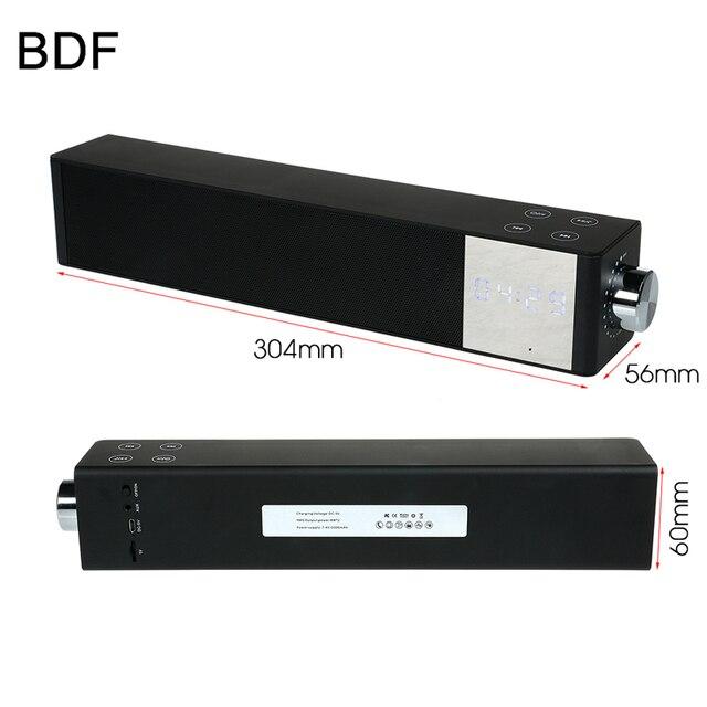 Bdf Sound Bar Home Theater Bluetooth Speaker Enceinte Tf Fm Radio Time Lcd Display Mp3 Player