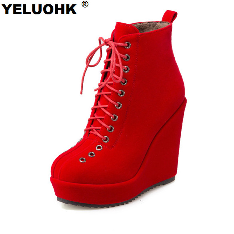 Large Size Wedge Boots Women High Heels Fashion Ankle Boots For Women Pumps Comfortable Platform Shoes Women High Boots nayiduyun women genuine leather wedge high heel pumps platform creepers round toe slip on casual shoes boots wedge sneakers
