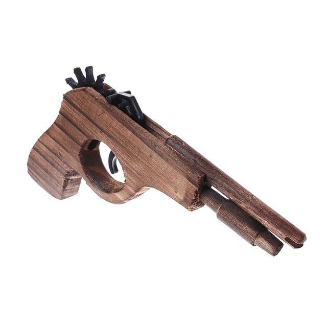Simulation Bullet Rubber Band Launcher Wood Gun Hand Pistol Guns Shooting Toy Sports Wood Guns For Children