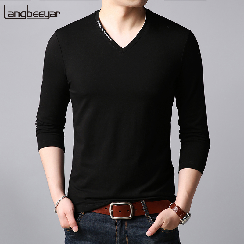 2019 New Fashion Brand   T     Shirts   Men V Neck Trending Streetwear Tops Trends Boyfriend Gift Long Sleeve Tshirts Mens Clothing