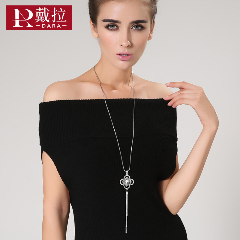 Dara Official Store DARA New Fashion Women Noble Long Necklace Four Leaf Clovers Crystal Pendant Necklace Swearter Chain For Wedding Lucky Jewelry