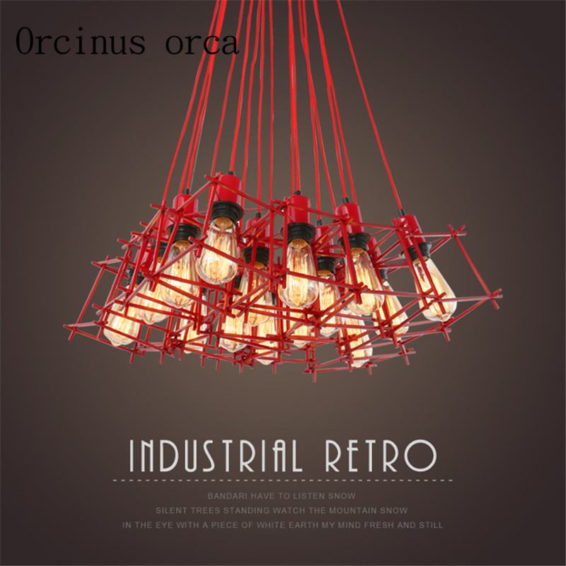 American Style Retro Industrial Wind Chandelier Nordic Living Room Restaurant Bar Clothing Shop Coffee Shop Red Iron Chandelier
