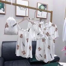 Cotton Pajamas Set Cute Bear Women Sexy Soft Pyjama Mom Home Sleepwear Long Shirt Shorts Blinder 4 Pieces/Set bear print cotton pajamas set