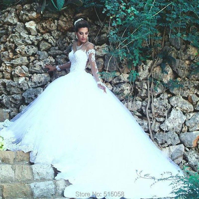 Vintage Sheer Long Sleeves Lace Princess Wedding Dresses Ball Gowns
