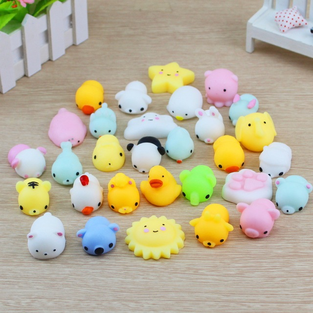 10 Pcs Mini Slow Rising Squash Anti-stress Toy Cute Animals Model Squeeze Squishy Kids Toys Children Gifts Soft Phone Straps