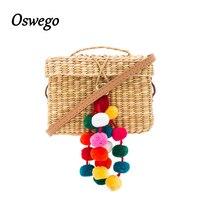 Colorful Ball Decoration Women Summer Beach Bag Cover Basket Shape Straw Bag For Travel Handmade Rattan
