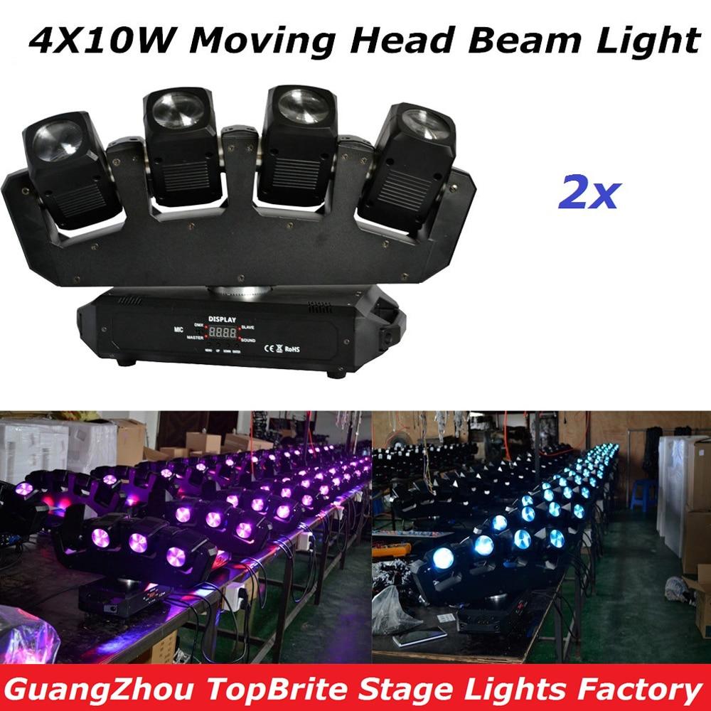 Եզակի ձևավորում 2 հատ / 4 * 10W RGBW 4IN1 առաջատար շարժվող գլուխը թեթև քրի չորս գլխի ճառագայթով շարժվող գլխի լույս 13 / 25CHs բեմի համար Dj Disco Light