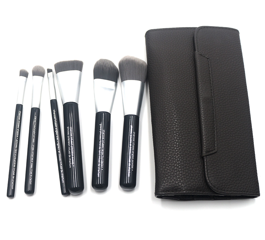 New Perfect Gift Professional Synthetic 6pcs Face Eye Deluxe Charcoal Anti-Bacterial Makeup Brushes Set With Leather pouch