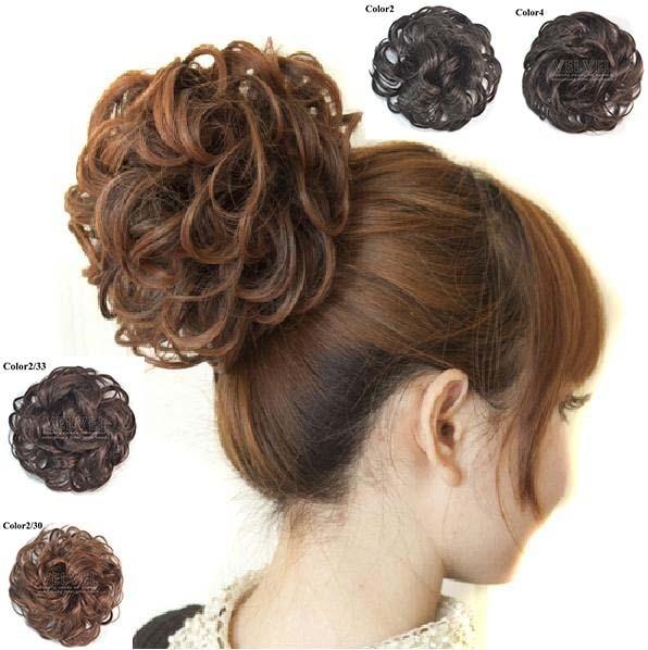 4 Colors 60G Curly Hair Bun Chignons Women's Styling Tools High Quality Bun Hairpiece Lady Hairstyles Short Hair Hair Pieces Bun