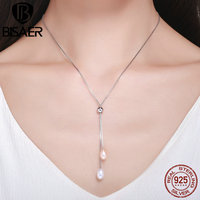 2018 New Arrival 925 Sterling Silver Sexy Long Necklace White Simulated Pearl Pendant Necklace for Women Sterling Silver Jewelry