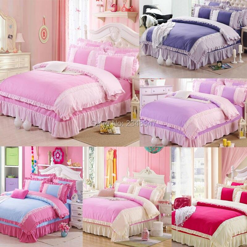 Pur coton doux princesse Rose dentelle drapé 4 Pc complet/reine taille lit couette/couette/Doona housse ensemble & drap solide violet bleu Rose rouge