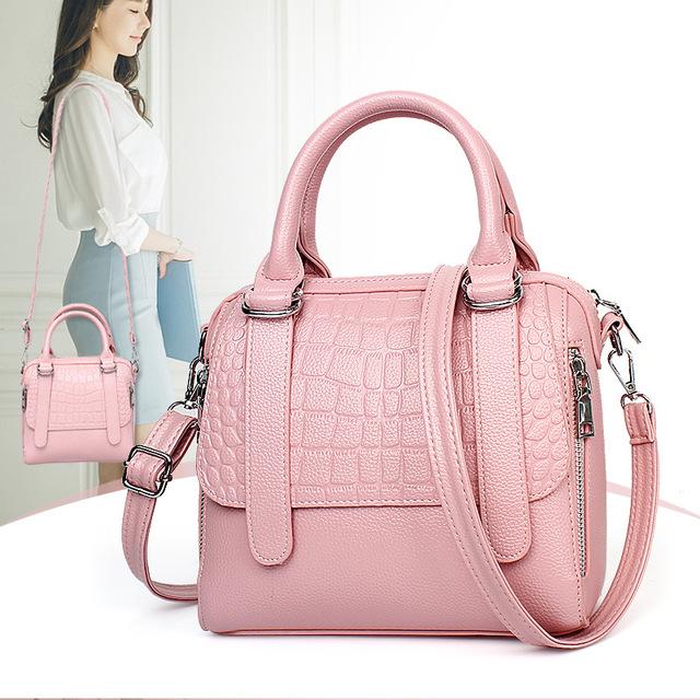 women leather handbags bag women crocodile tote female crossbody shoulder bags brand women's Top-Handle Bags sac a main pink