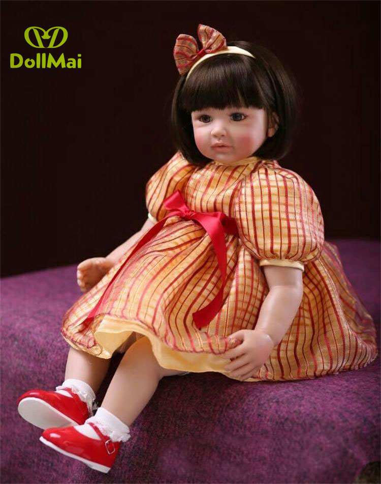 "Boutique Princess 24"" 60cm Handmade Lifelike Baby Silicone Vinyl Girl Reborn Toddler Newborn with dress Dolls Child Present"