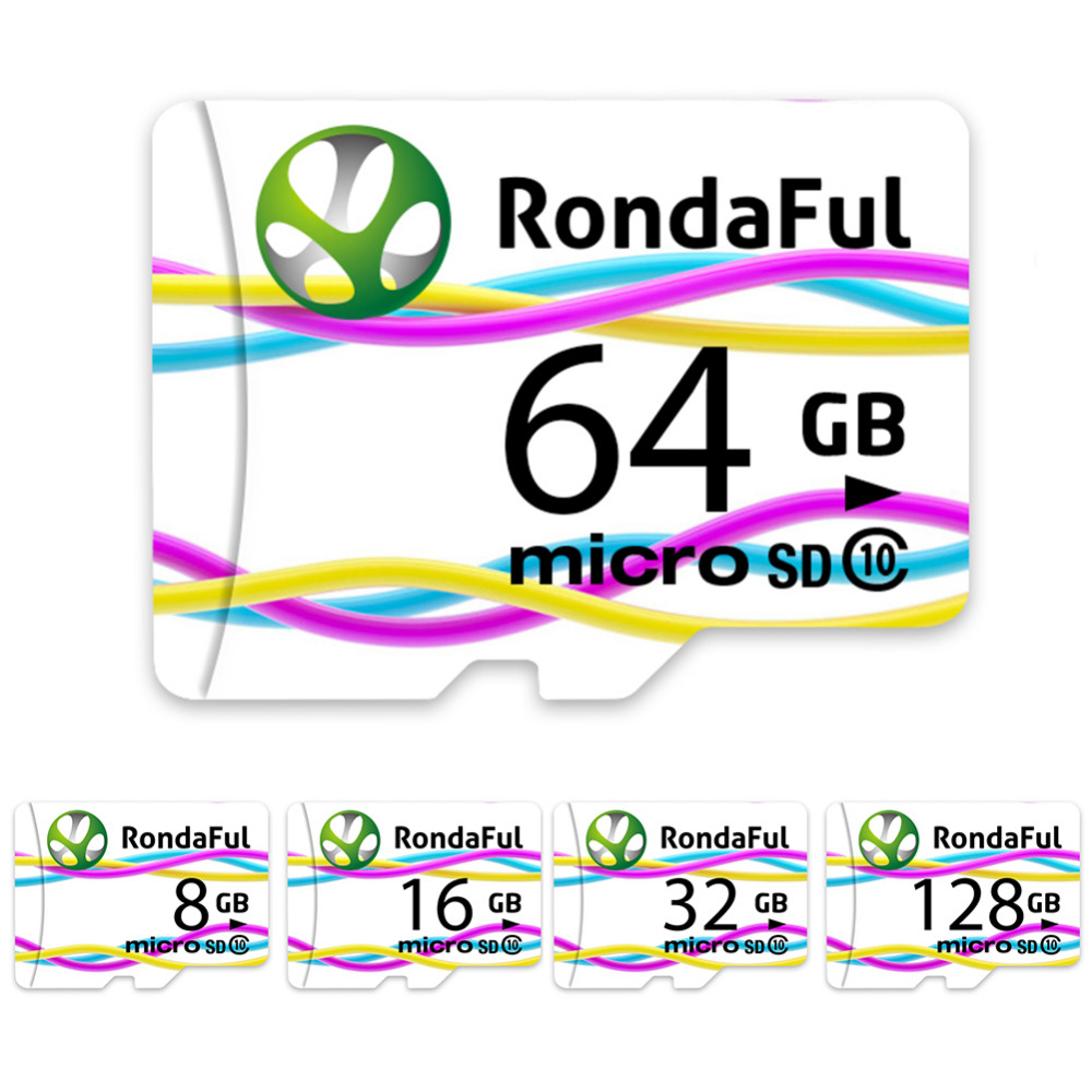 Rondaful Full Capacity Memory Card 128GB Micro Sd Card 64GB/32GB/16GB Class10 Microsd Card High Speed for Phones MP3 Memory Card
