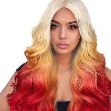 Las mujeres largo rizado ondulado recto sintético Peluca de cabello  completo rosa púrpura Cosplay rojo gradiente pelo elegante y. 0983e11daff6