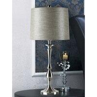 الشمال ما بعد الحداثة بسيطة الفضة الجدول مصباح أباجورة غرفة المعيشة الأمريكية الإبداعية الفردية LED الجدول مصباح شحن مجاني
