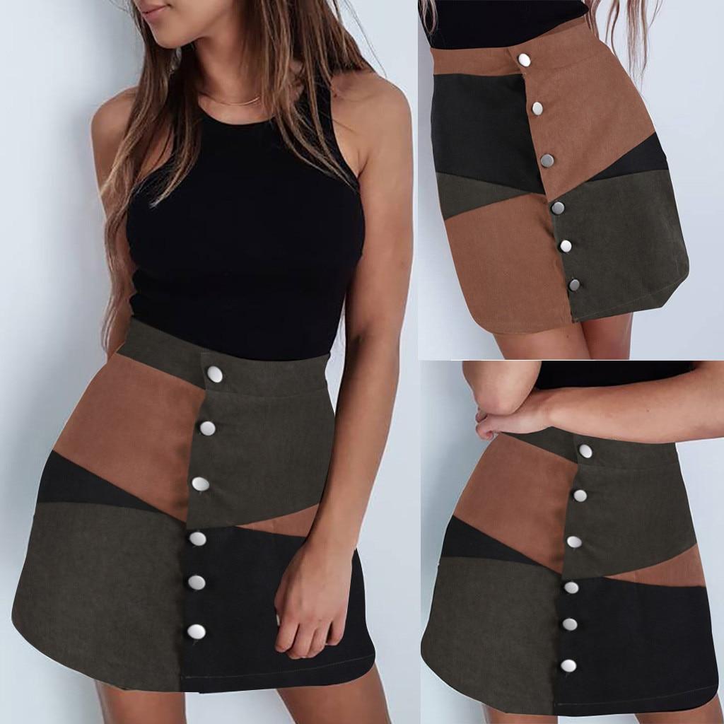 Fashion Women Casual Botton A-Line Skirt Patchwork Color Block Short Mini Skirt