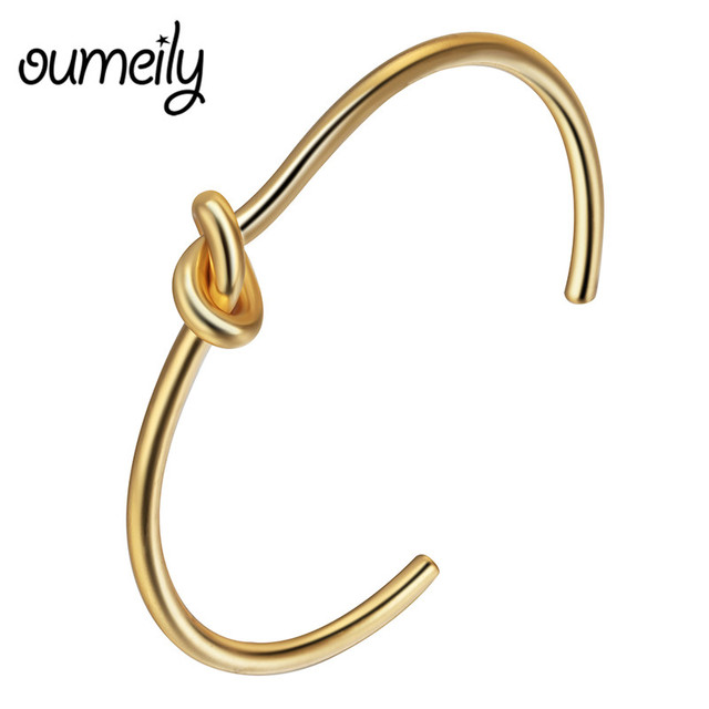 Tie Knot Bracelet Bangle Rose Gold Color Simple Twist Cuff Open For