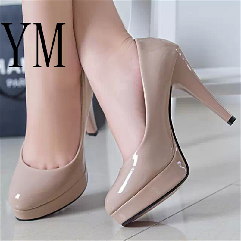Fashion Mature Women Pumps Classic Patent Leather High Heels Shoes Nude Sharp Head Paltform Wedding Women Dress Shoes Plus 34-42