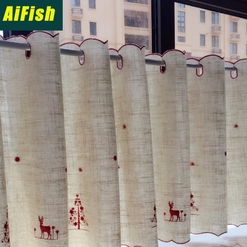 Short Curtains For Windows For Kitchen Room Merry Christmas Curtains Small Window Curtain Golden Curtain #30