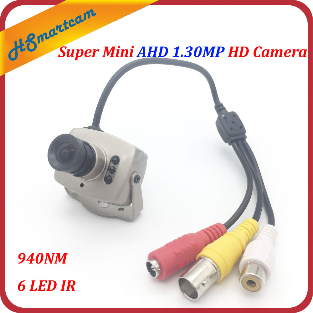 Super Mini AHD Camera 720P Night Vision 940nm 6 LED Infrared Video Mic Audio Color CCTV Camera indoor 3.6mm Lens 5-12V DC CCTV
