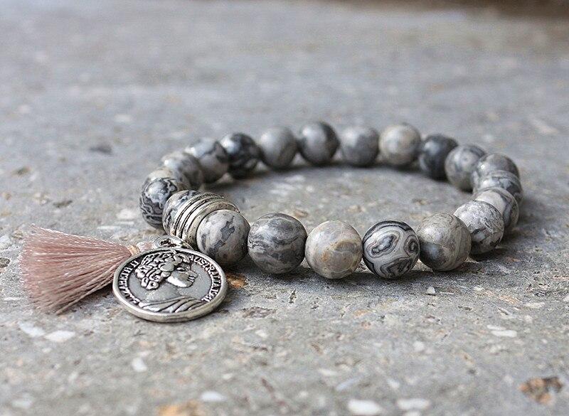 Antique Charms Beads byzylyk Vintage Natyrore Stones Elastik Yoga - Bizhuteri të modës - Foto 2