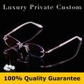 La excelencia de calidad titanium sin rebordes gafas mujeres de lujo gafas de lectura anti uv400 protección gafas graduadas 631