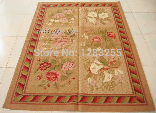 Vintage laine couture Floral tapis magnifique cousu main laine aiguille point tapis au Louvre pour tapis salon