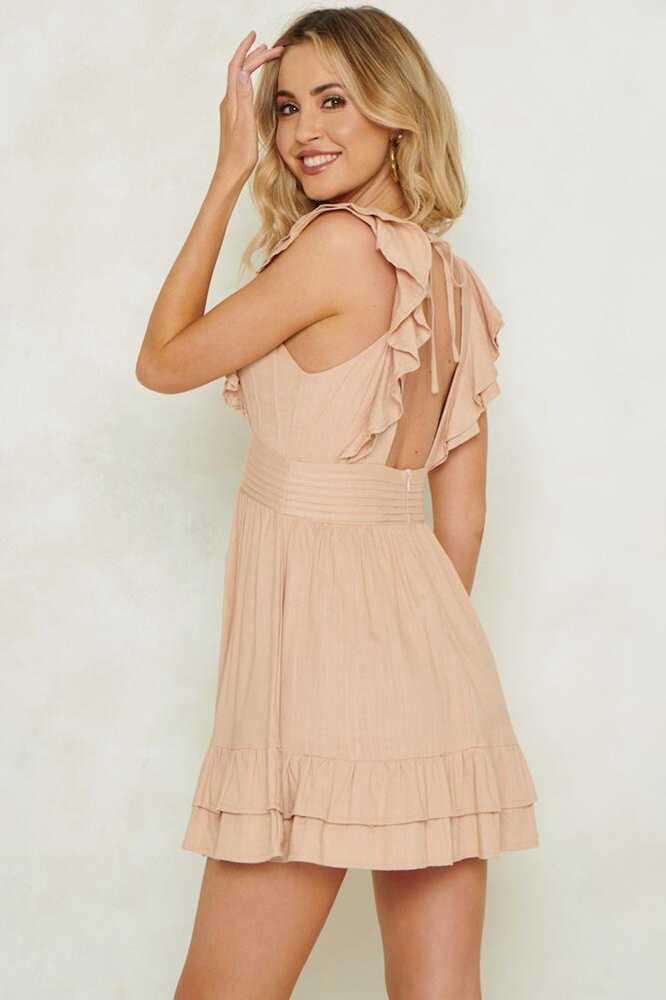 Мини-платье с глубоким v-образным вырезом женское летнее соблазнительное с открытой спиной с рюшами, рукав-лепесток, вечернее платье трапециевидной формы, короткое черное платье пляжные платья