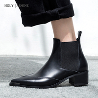 2018 Winter Classic Chelsea Boots Women Pointed Toe Black Real Leather High heels Ankle Boots Woman Square heel Fashion shoes