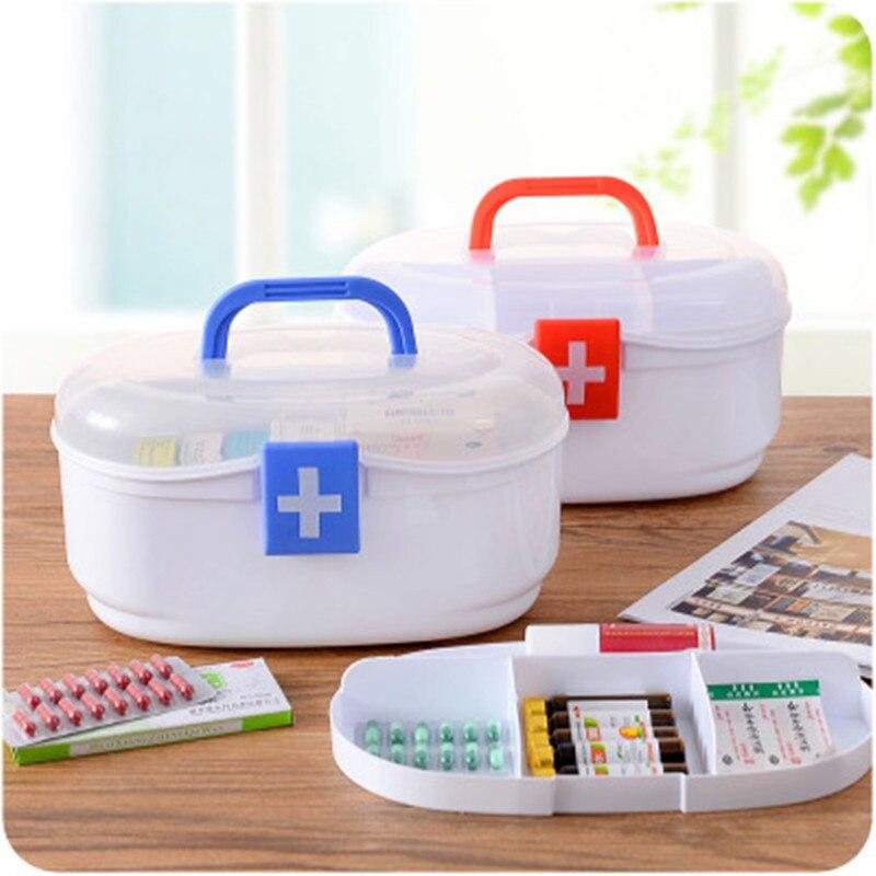 Большие пластиковые бытовой медицины коробка Домашняя аптечка B647 Многослойные наркотиков Коробка для хранения маленькие дети аптечке.