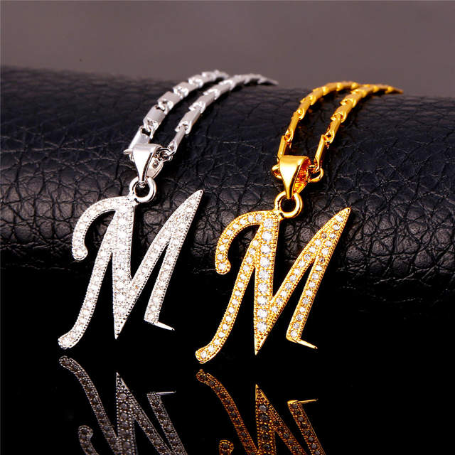 Placeholder Starlord Initial M Letter Pendants Necklaces For Women Men Personalized Gift Alphabet Jewelry Gold Color